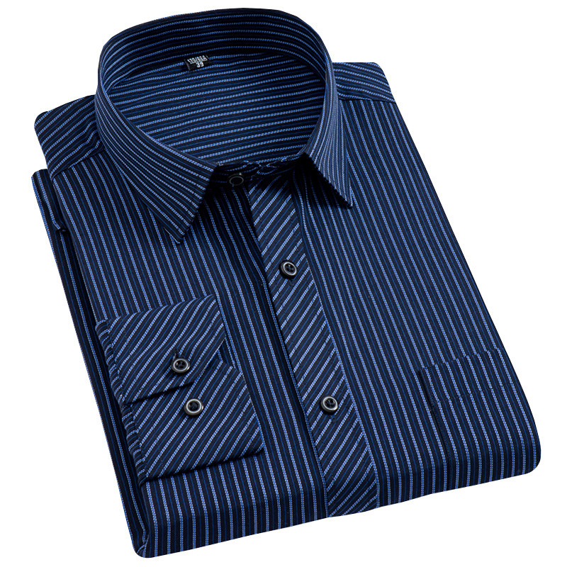 New 8xl Plus Size Large Men Turndown Collar Long Sleeve Non-Iron Dress Striped Shirts With Chest Pocket Regular Fit Male Tops