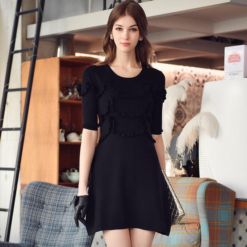 Original Otoño Invierno señoras negro moda casual Ruffles tejido suéter  vestido de las mujeres al por mayor 22e0d00f8cc9