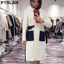 Ptslan Women Alpca Sheep Fur Coat Fashion Women Wool Coat Long Sheep fur Beautiful Women's Coat