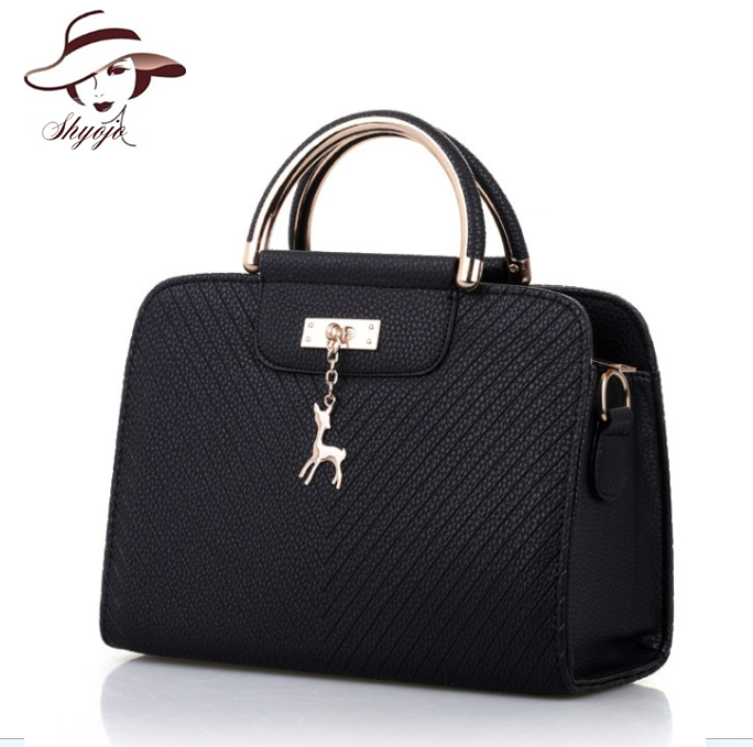 Hot Sale New Fashion Solid Color Women Messenger Shoulder Handbag Metal Top-handle Cross ...