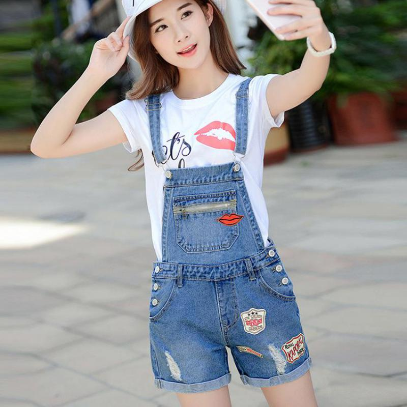 New 2017 summer fashion big size cowboy straps ladies   shorts   cute red mouth printing Harajuku loose brand denim   shorts