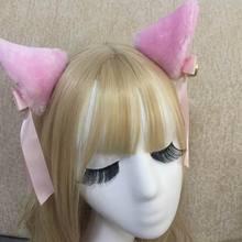 Japanese Harajuku Maid Cosplay Headdress Lovely Cat Ear Ribbon Sweet Lolita Girls Headband