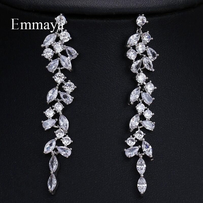 Emmaya brincos compridos de duas folhas, joias coloridas de zircônio carbico, presentes estilo casamento ativo