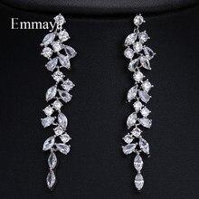 EMMAYA – boucles d'oreilles longues en Zircon et carbure pour femme, bijoux de mariage, deux couleurs, Style pendant actif, cadeaux