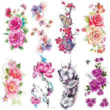 2Pcs Women Temporary Tattoos Disposable Temporary Tattoo Stickers for Body Art Flower Tattoos Arm Waist Bracelet Stickers Beauty все цены