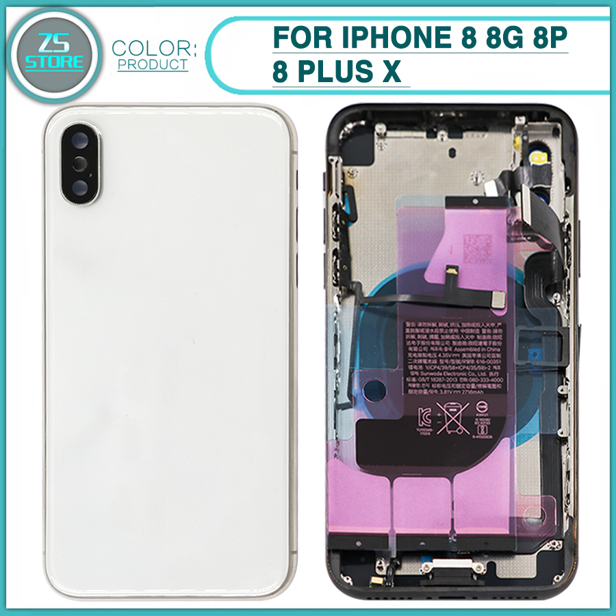 New Rear Housing Case For iphone 8 8G 8P 8 Plus X Battery Back Cover Door Housing Chassis Frame With Flex CableNew Rear Housing Case For iphone 8 8G 8P 8 Plus X Battery Back Cover Door Housing Chassis Frame With Flex Cable