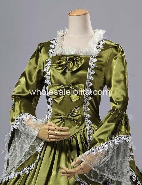 18 век оливковое атласное платье со времен Марии Антуанетты бальное платье/Одежда для выступлений