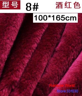 8# wine red 8mm Minky fleece plush PV velvet fabric velboa for DIY Stuffed toys <font><b>blankets</b></font> animal dog house(100*165cm)