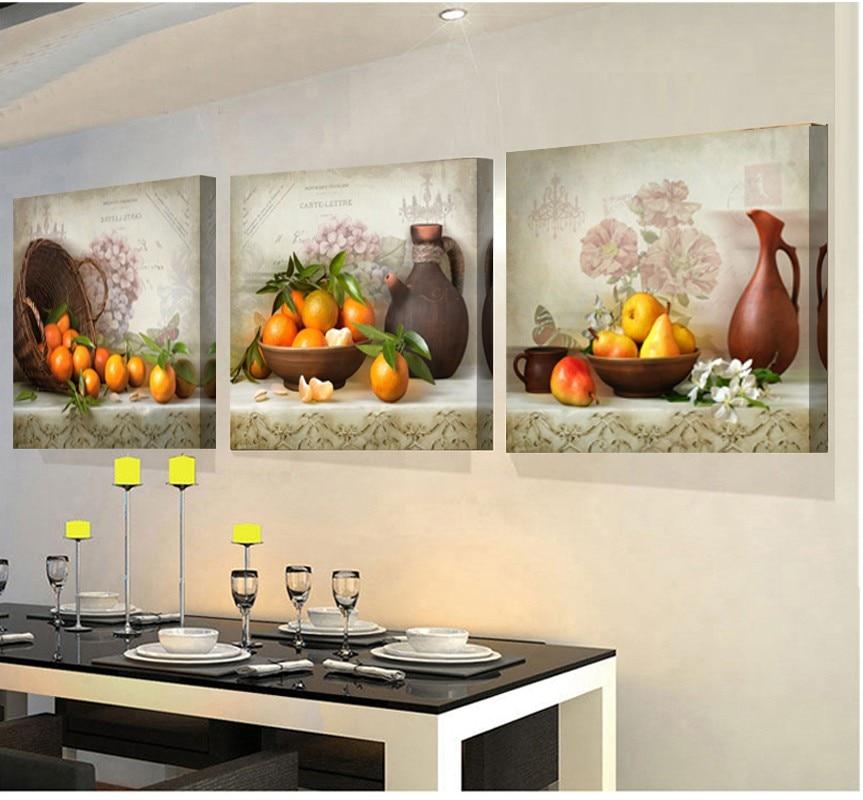 2017 Imagens Modulares 3 Painéis Pinturas Para A Cozinha De Frutas  Decoração Da Parede Da Lona