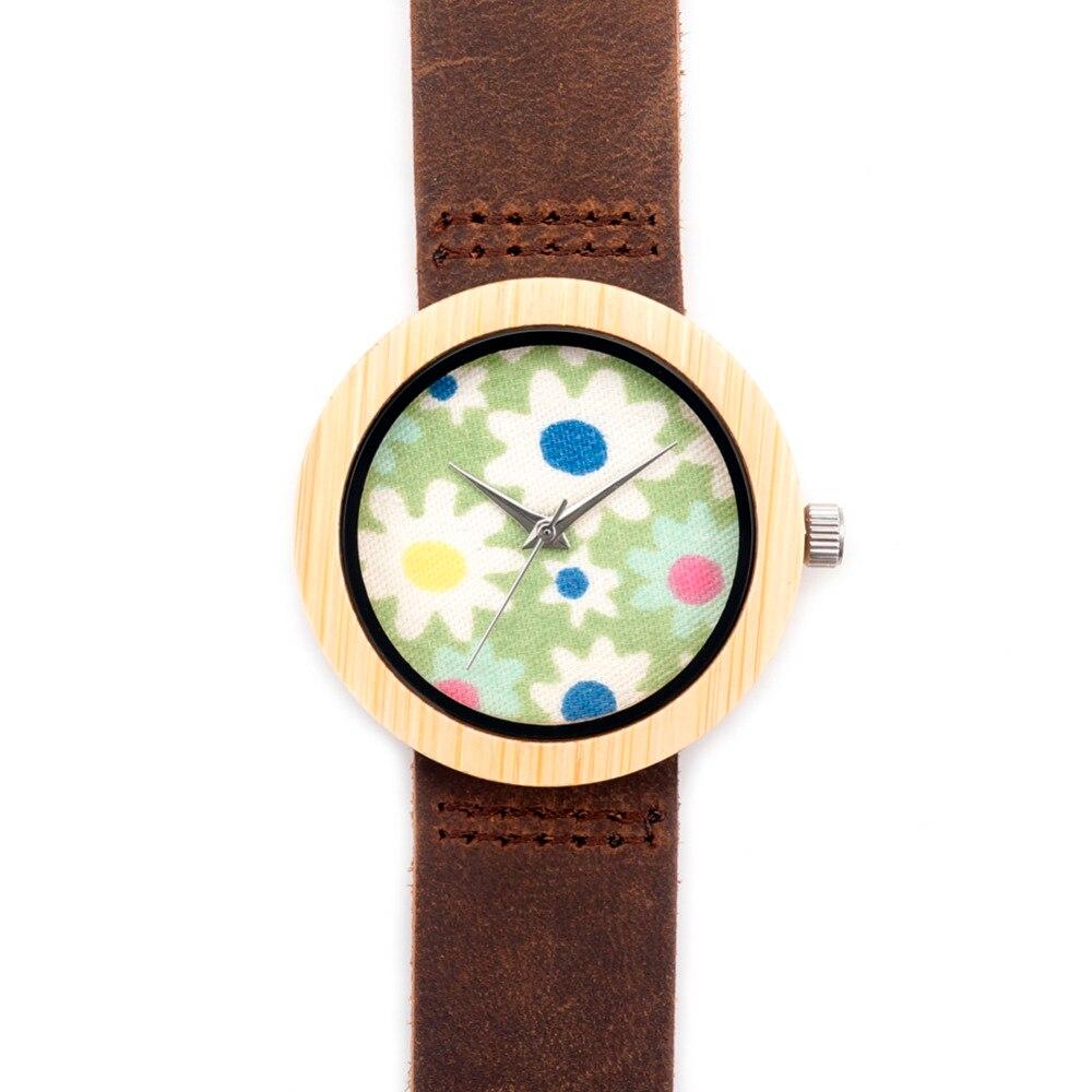 Women s Fashion Gift With Bamboo Wooden Quartz Wristwatch Janpen Movement Leather Starps