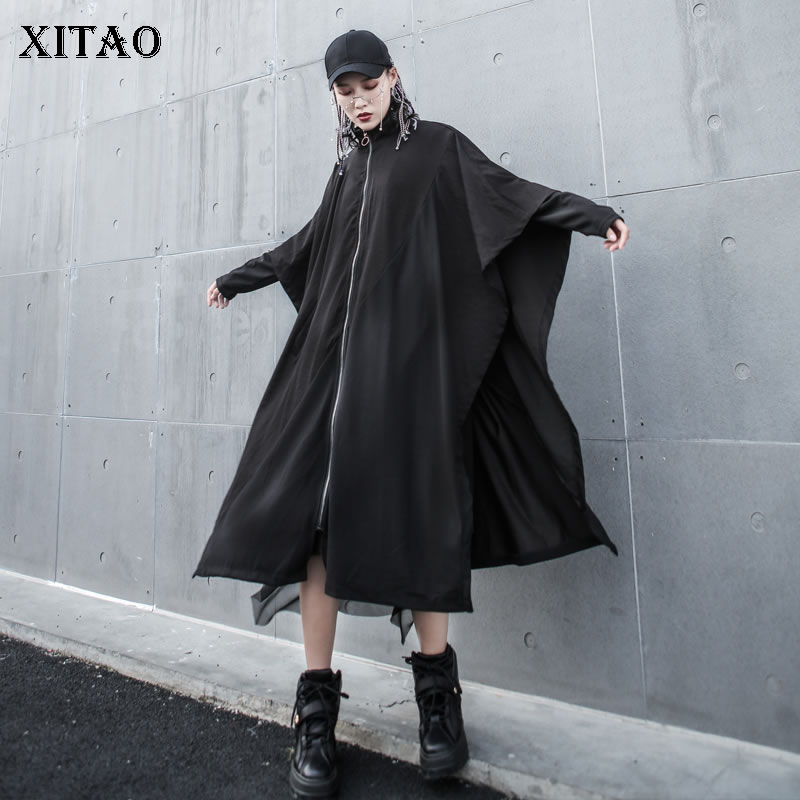 [XITAO] Women 2019 Summer New Korea Fashion Stand Collar Three Quarter Sleeve Long Coat Female Solid Color   Trench   WBB3211