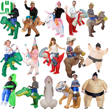 Purim Fantasy Inflatable Unicorn Dinosaur Costume Willy Cowboy Sumo Duck Animal Mascot Halloween For Woman Man Kid Adult