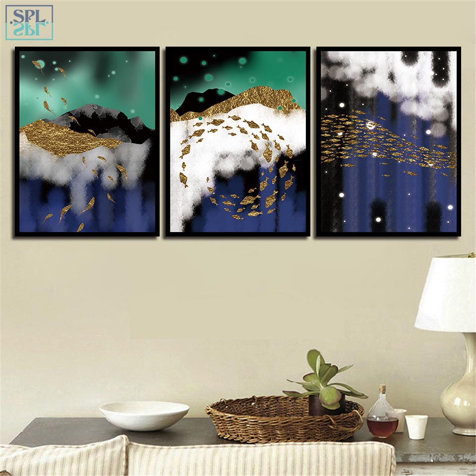 SPLSPL Nordic Decoration Posters And Hd Prints Wall Art Picture Golden Fish Landscape Abstract Canvas Painting For Living Room