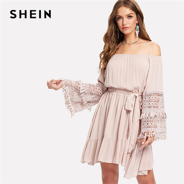 e7258f2b0b SHEIN Pink Vacation Boho Bohemian Beach Tassel Detail Eyelet Lace Bell  Sleeve Belted Bardot Dress Summer Women Casual Dresses