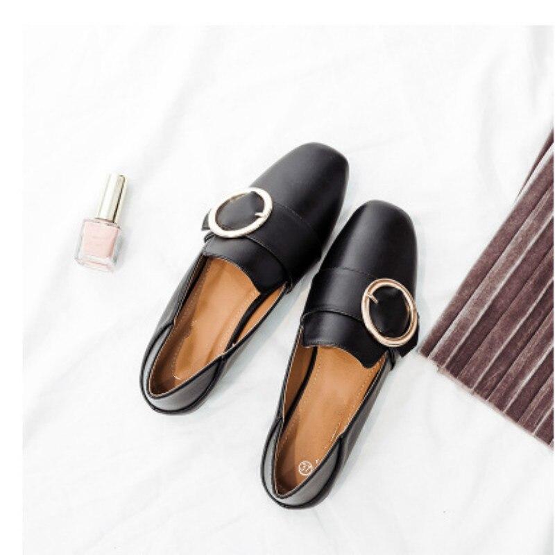 De New Babouches Cuir Plates Ronde Metal Mocassins Chaussures noir Printemps 2018 blanc Femmes Beige Boucle Vintage Femelle Dames En ZPw1Oq