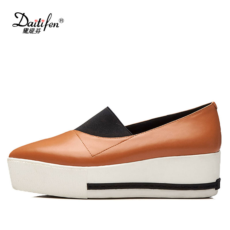 Daitifen Rome Genuine Leather women Flat Platform shoes Soft Outdoor activities Fashion Pointed toe Elastic band Ladies Flats women flats genuine leather shoes womens summer shoes pointed toe flats ladies cross elastic band footwear for pregnant women