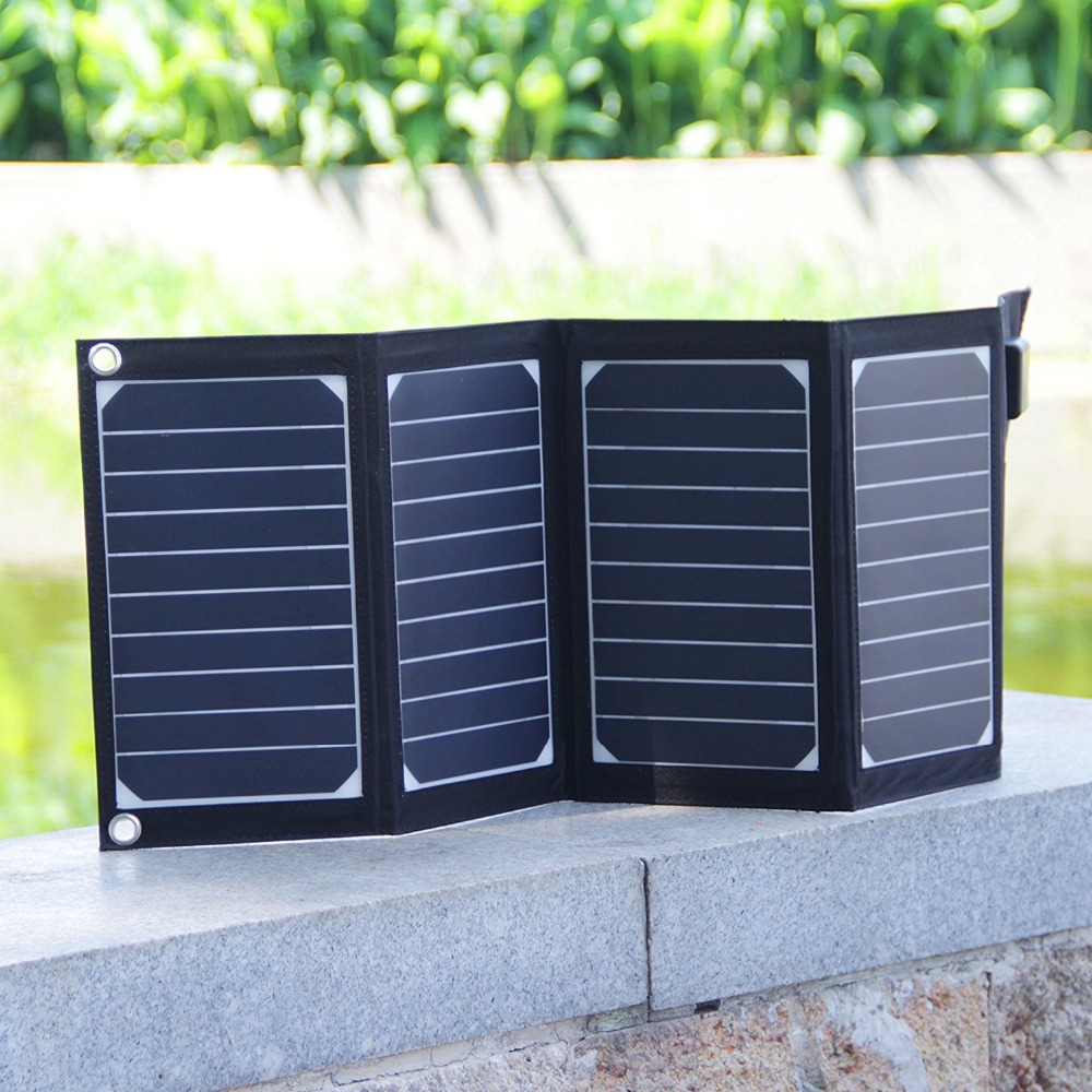 <font><b>20W</b></font> 2-Port USB <font><b>Solar</b></font> <font><b>Charger</b></font> with High-efficiency Portable Foldable <font><b>Solar</b></font> Panel PowermaxIQ Technology for iPhone, iPad, iPod.etc
