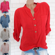 2019 new women s blouse summer ladies collar solid color button long sleeved large shirt