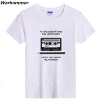 Warhammer Men T Shirt Vintage Retro Record Print Tee Shirt Homme Cotton O Neck Short Sleeve