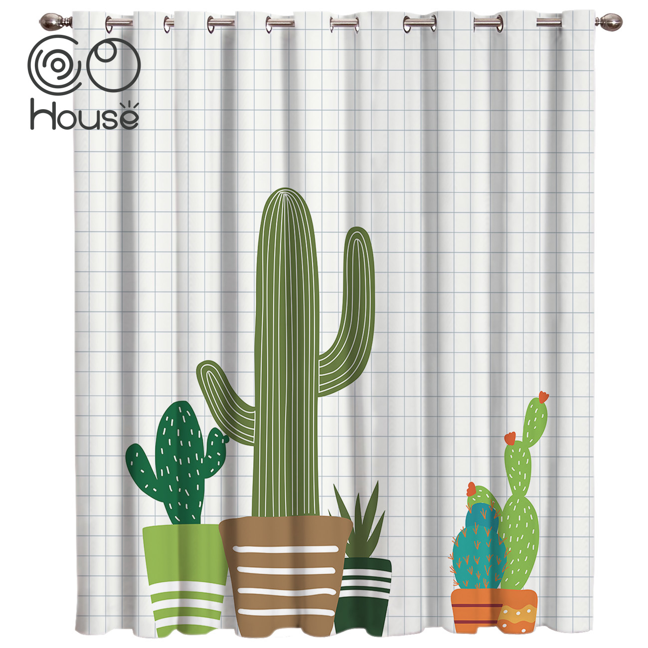 CoCoHouse Nordic Cartoon Geometic Living Room Bedroom Fabric Kids Curtain Panels With Grommets Window Treatment Valances Window