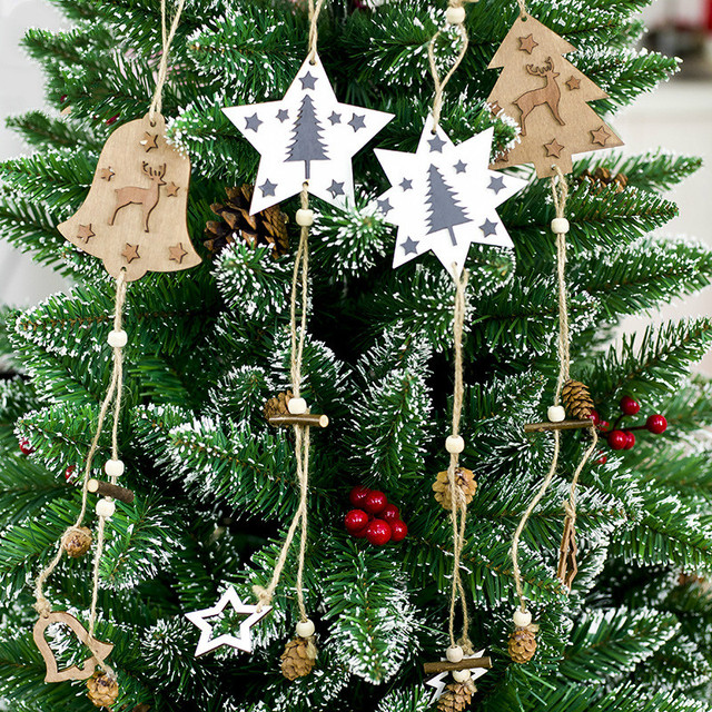 merry christmas wooden elk bell pine cone pendants ornaments diy wood crafts xmas party christmas tree
