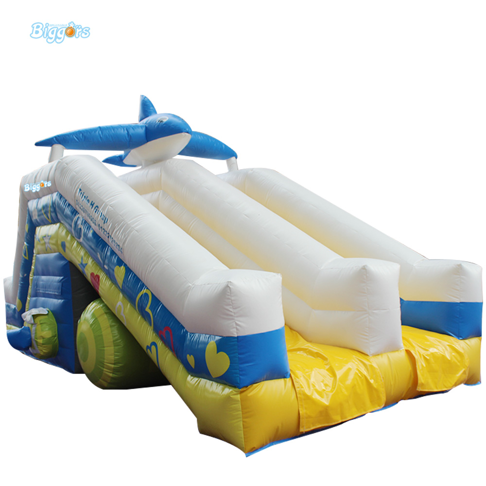 Children Shark Blue Inflatable Water Slide with Blower for Pool popular best quality large inflatable water slide with pool for kids
