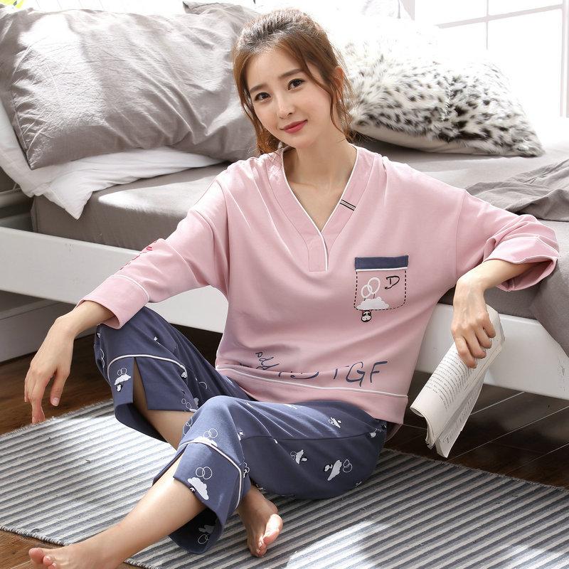 Spring Autumn Long Sleeved Cotton Women's   Pajamas     Set   V Neck Printing Sleepwear Girls Pyjamas Mujer Lady Casual Home Clothing