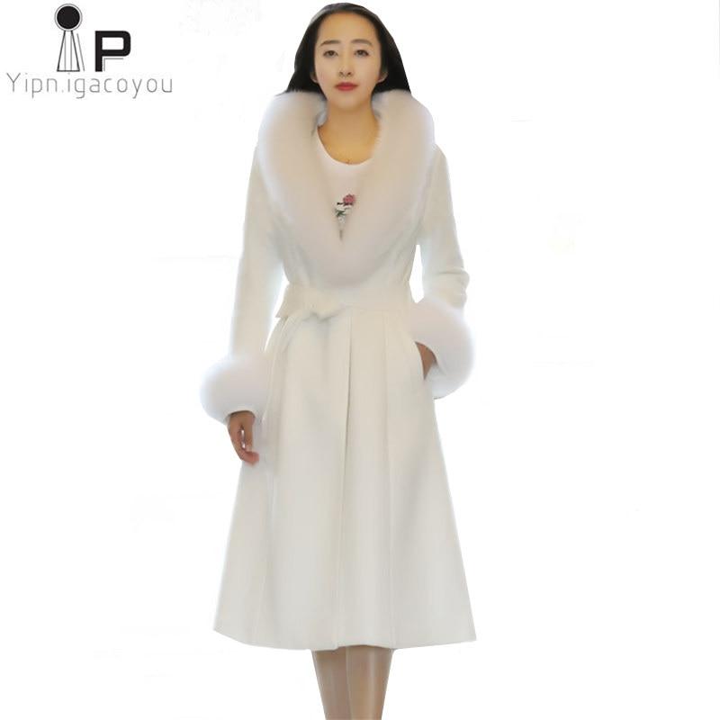 White Woolen Coat Women Overcoat Korean Autumn High Quality Faux Fox Fur Collar Warm Long Wool