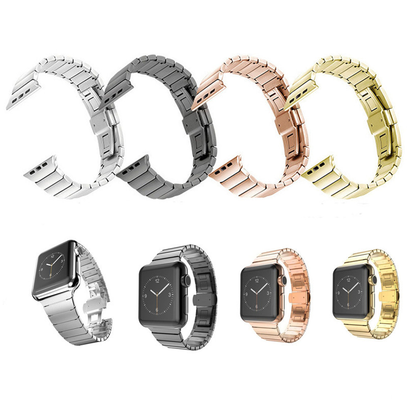 Fashion Stainless Steel Link Bracelet For Apple Watch Band 42 mm butterfly loop 38mm Strap For iWatch Rose Gold Black Silver stainless steel watch band 18mm 20mm 22mm 24mm for orient safety clasp strap loop belt bracelet black rose gold silver tool