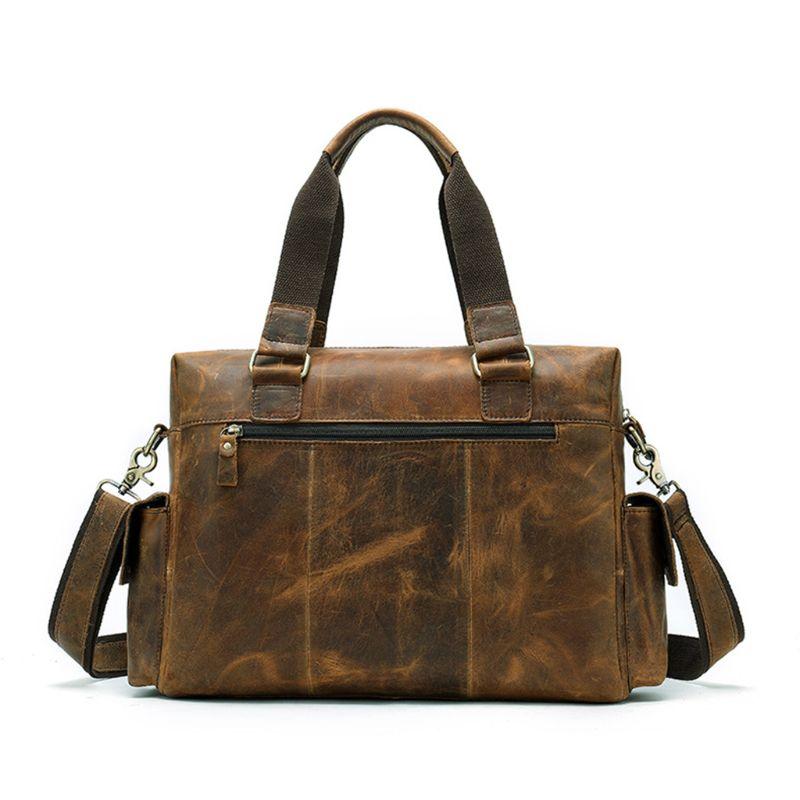 Мужская сумка из натуральной кожи, портфель, сумка для ноутбука, Большая вместительная сумка, высокое качество, дорожная сумка через плечо - 3
