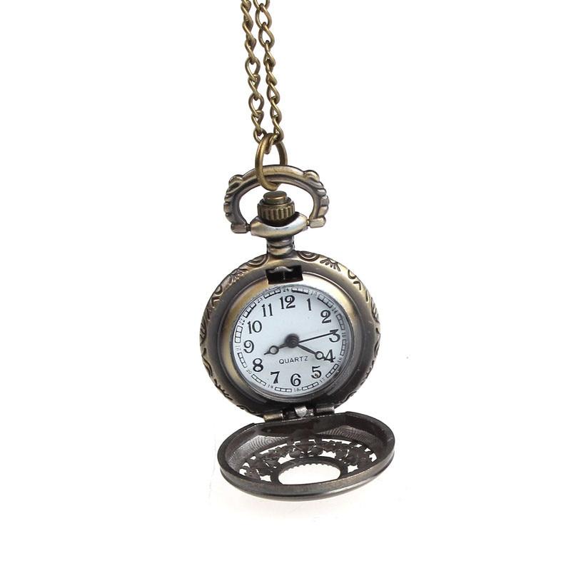 9 & Billige Fashion Casual Nye Retro Leaves Vintage Style Pocket Chain Halskæde Watch Christmas Gift Gratis forsendelse # 210717