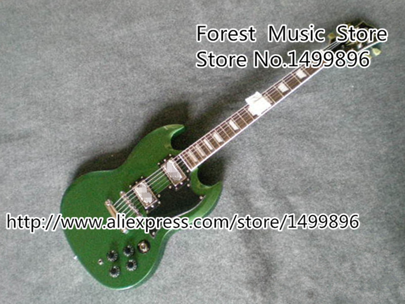 Wholesale & Retail Chinese Green Matte Finish 22 Frets SG-400 Electric Guitars with Golden Hardware For Sale top selling chinese sg 400 electric guitar zebra stripe finish guitars body