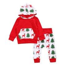 2017 Newest Christmas Toddler Newborn Baby Boys Girls Clothing Hoodies Pocket Tops Full Sleeve Tree Print Pants 2Pcs Outfits Set