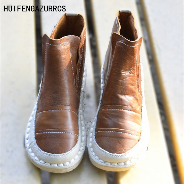 HUIFENGAZURRCS-New Pure handmade boots,Genuine leather shoes,The retro art mori girl shoes,Cartoon thick sole shoes,3 colors huifengazurrcs new genuine leather