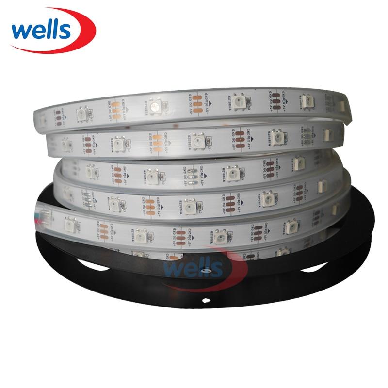 10x5 M WS2812B 30 pixels/LED s/m Smart LED bande de pixels 5050 RGB WS2811IC blanc/noir PCB DC5V étanche dans le revêtement de silicium IP67