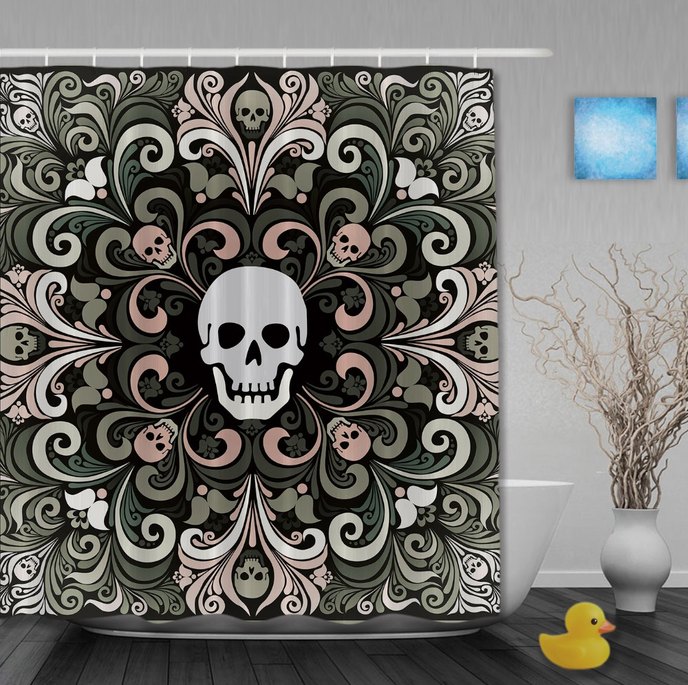 Sugar Skull Bathroom Decor Sugar Skull Shower Curtain Hooks