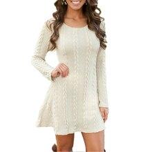 Платья-свитеры Осенне-зимняя Дамская обувь сексуальное платье трапециевидной формы с длинными рукавами однотонные пуловер вязаный Лидер продаж плюс Размеры S-5XL большой Размеры