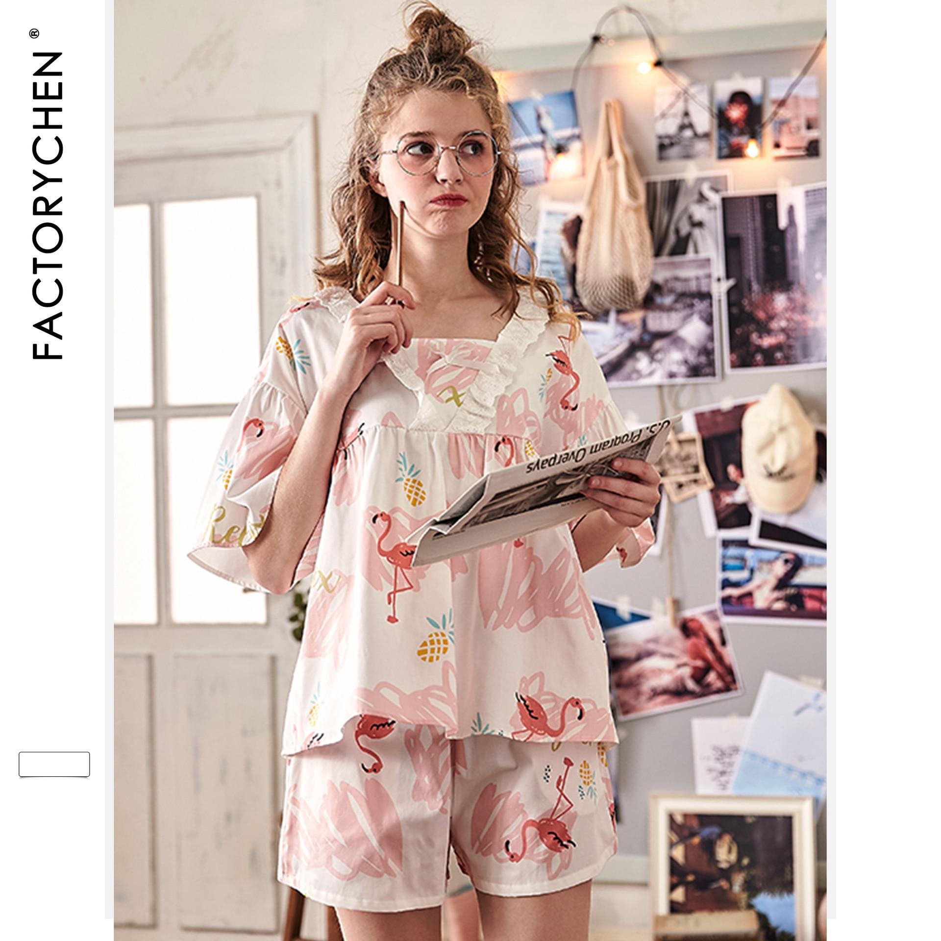 Свободные женские пижамы с коротким рукавом и рисунком фламинго, летние шорты, пижама с v образным вырезом, пижама с принтом, домашняя одежда для сна, комплект из 2 предметов-in Комплекты пижам from Нижнее белье и пижамы on AliExpress - 11.11_Double 11_Singles' Day