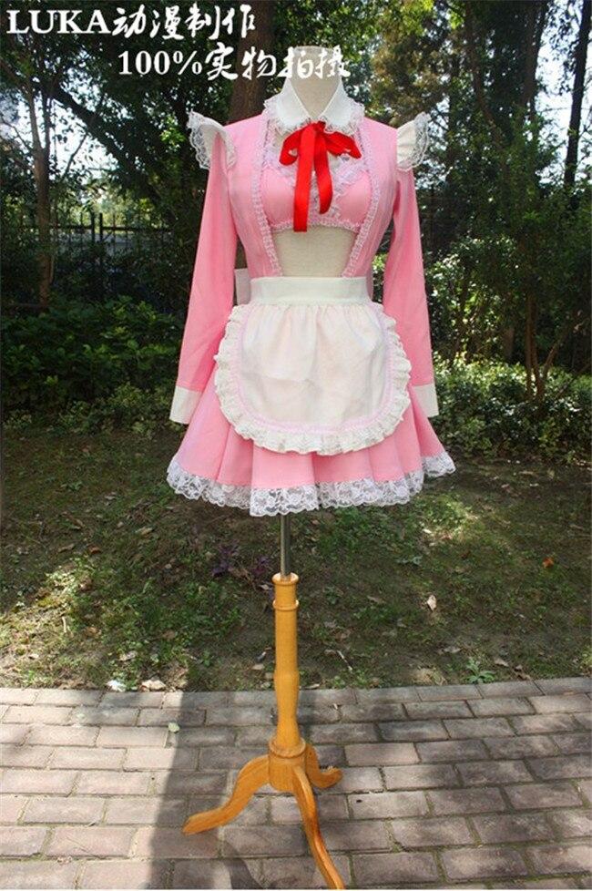 Anime Super Sonico Cosplay Costumes Maid Pink Dress Meidofuku Lolita Dress Custom Made Any Size Free Shipping