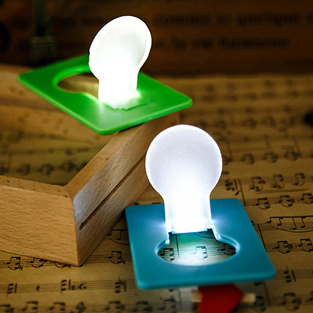 Mini Lighting Wallet Card Pocket Led Card Night Light Lamp Creative Turn On By Folding Up The Light Bulb Card