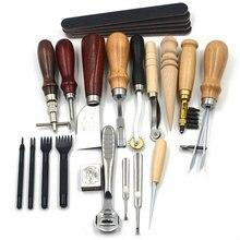 18 шт. Leather Craft Удар Инструменты Комплект Шить Резьба Работает Швейная Седло Для Нарезания