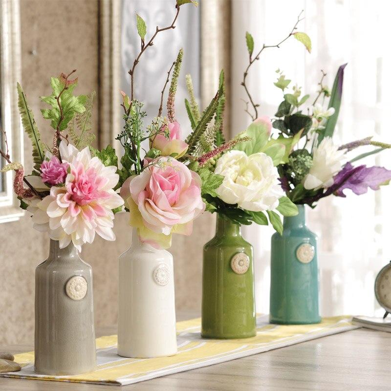 Художественные произведения европейский стиль цветок моделирования стол ваза для цветов набор готовых цветочный спальня мебели
