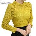 2017 novas rendas engrossar camisa blusa mulheres amarelo/branco warm clothing shirt mulheres tops feminino plus size nove quarter blusa mulheres
