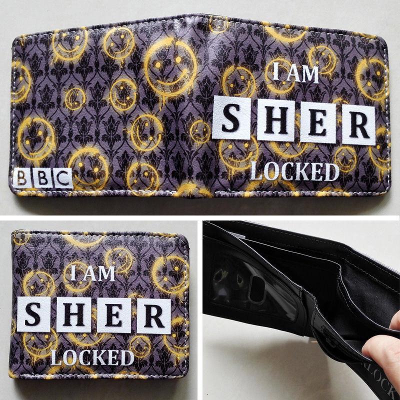 2018 BBC Sherlock LOGO 02 wallets Purse Multi-Color 12cm Leather Man women New W116 2018 games pacman games logo wallets purse multi color leather new hot w199