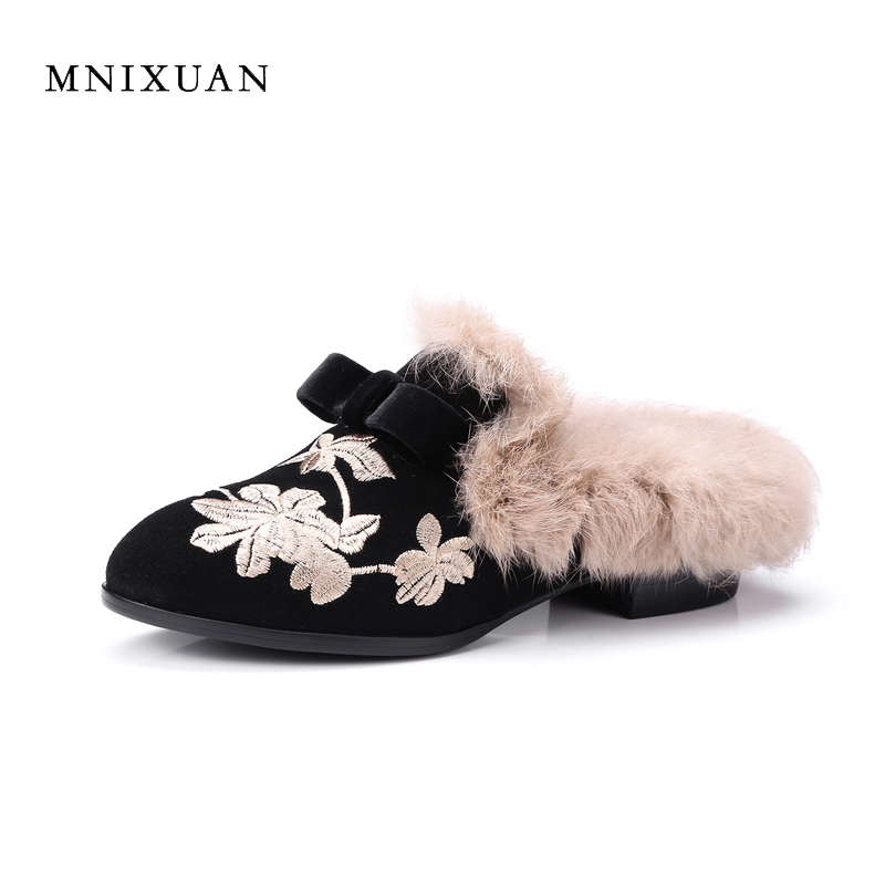 MNIXUAN mules shoes women 2017 new genuine leather slip on ladies warm fur winter flats rabbit embroidered butterfly casual flat fine zero spring women casual suede genuine leather platform flats tassel wedge slip on ladies creepers shoes red fur winter