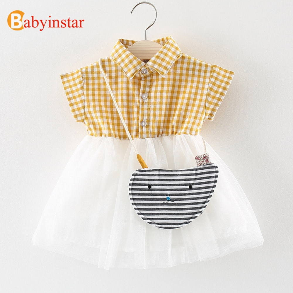 Babyinstar/плед платье с сеткой в стиле «пэтчворк» с небольшой сумки 2018 Летнее платье для маленьких девочек Детская одежда Детские Детская одежд...