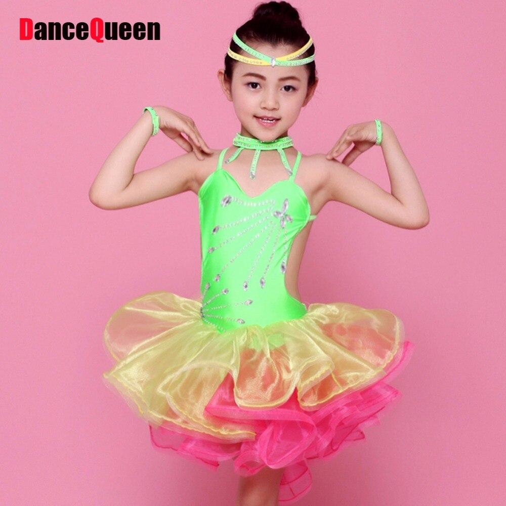ღ Ƹ̵̡Ӝ̵̨̄Ʒ ღLatino danza niños verde/rosa/amarillo Niñas danza ...