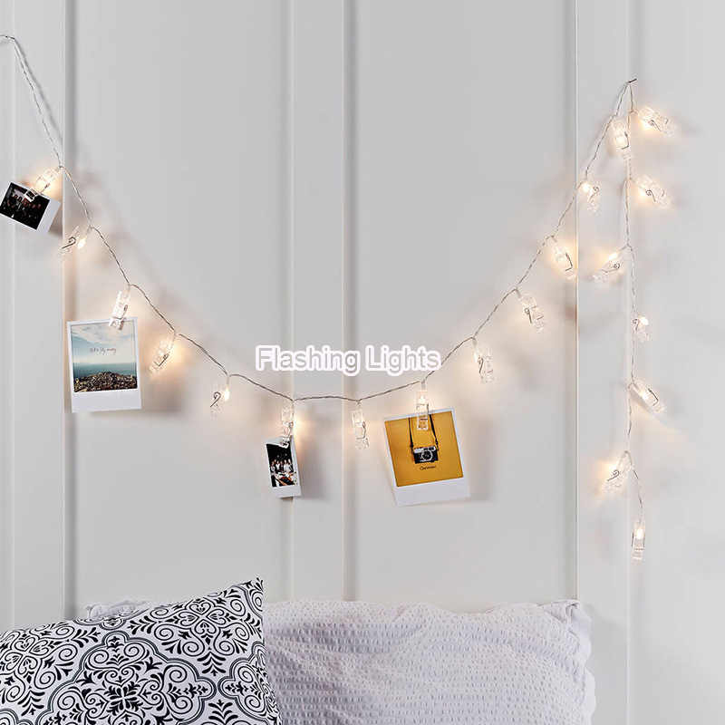 8M 50LED Lamp Clips photo String Lights wedding home decoration Battery Operated led christmas lights for Outdoor lighting