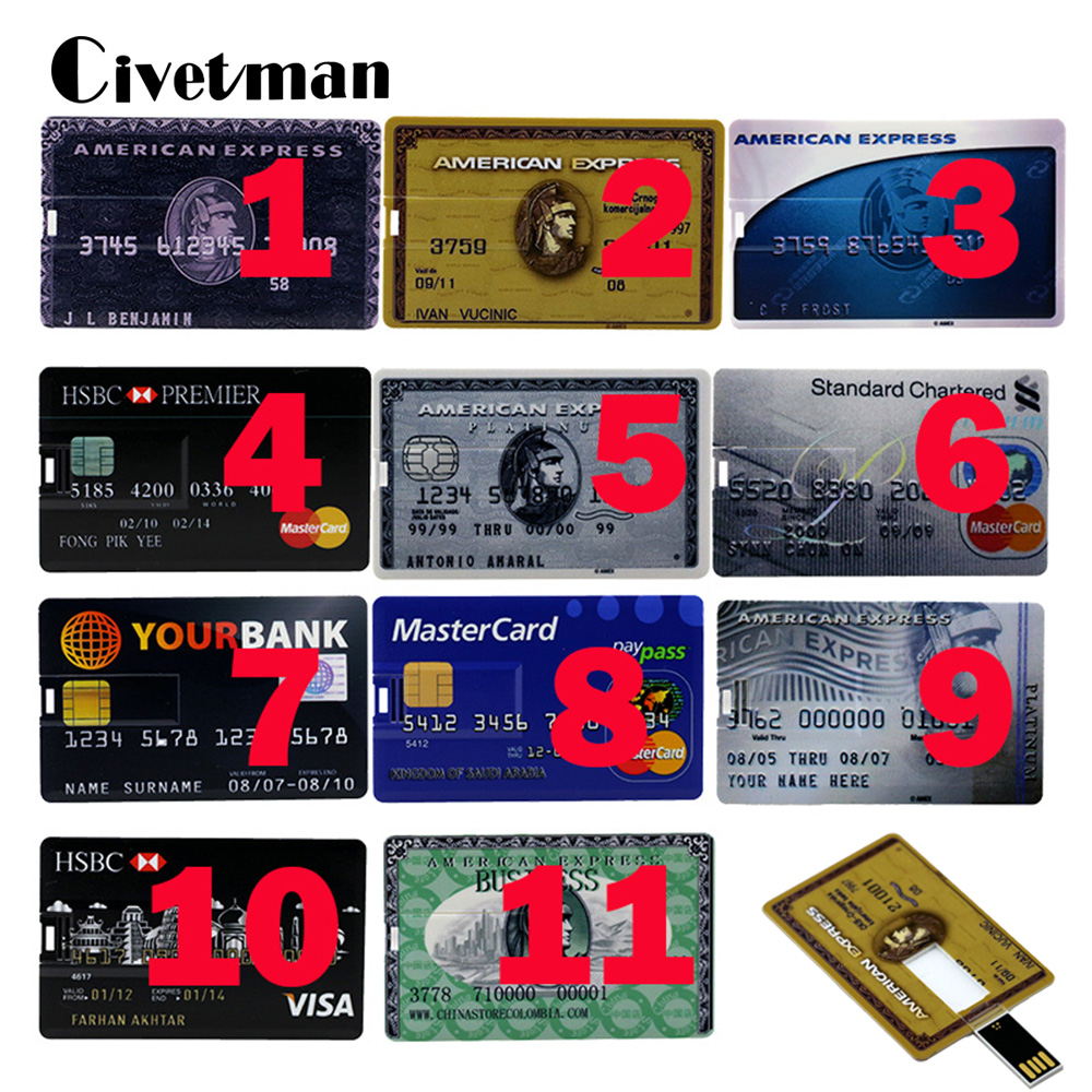 Hot Sale 4GB 8GB 16GB 32GB 64GB Each Country Bank Credit Card Shape USB Flash Drive Pen Drive Memory Stick Best Gifts With Box
