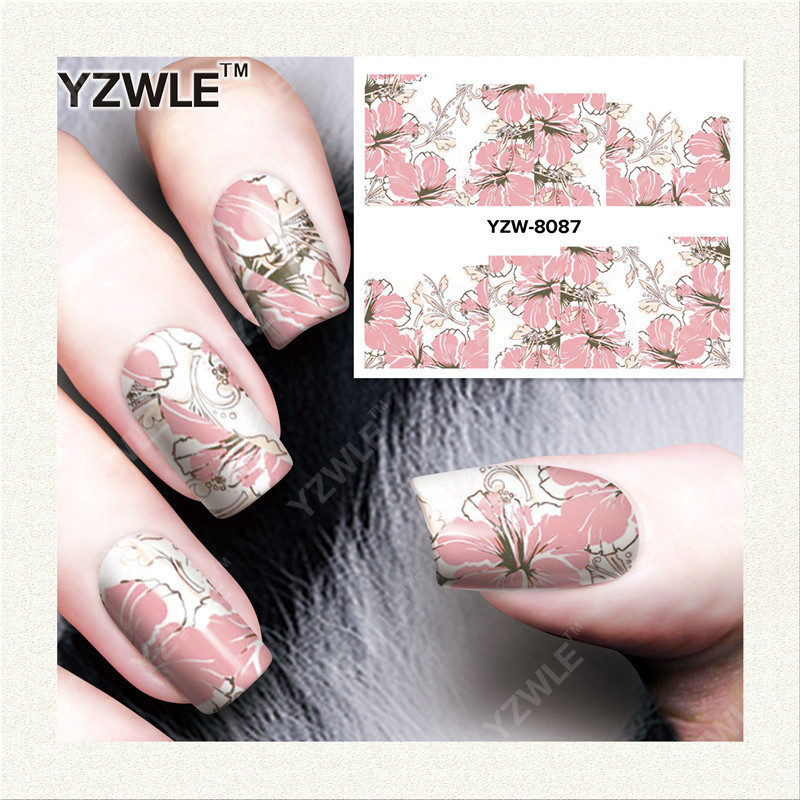YZWLE 1 Sheet DIY Decals Nails Art Water Transfer Printing Stickers Accessories For Manicure Salon YZW-8087 yzwle 1 sheet hot gold 3d nail art stickers diy nail decorations decals foils wraps manicure styling tools yzw 6015